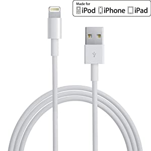 Apple MFi Certified iPhone Charger Cable 6.6 Feet (2 m) Data Sync Lightning to USB Charger iPhone Charging Cable Cord for iPhones by Clambo - White