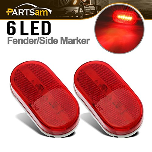 Partsam 2Pcs Red 4 Inch Oblong Led Clearance and Side Marker lights Lamps with Reflex Lens White Base RV Camper Surface Mount, Sealed 2x4 Reflective Rectangular Rectangle Led Marker Lights Lights 12V ()