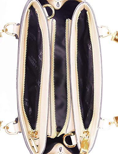 Locomotive Zippers Beige Bags Tote Lady Handbag 3 PU Leather LA'FESTIN not Body Womens Purse Dolly Cross for Stylish wYdxngqp
