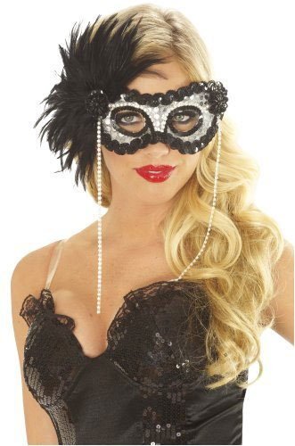 Onyx Pearl Feather Mask Halloween Costume Accessory (White Mardi Feather Mask Gras)