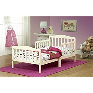 Orbelle Wood Toddler Bed Sleigh, Standard, French White