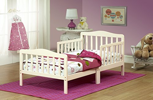 Orbelle Contemporary Toddler Bed, French White White Wood Toddler Bed