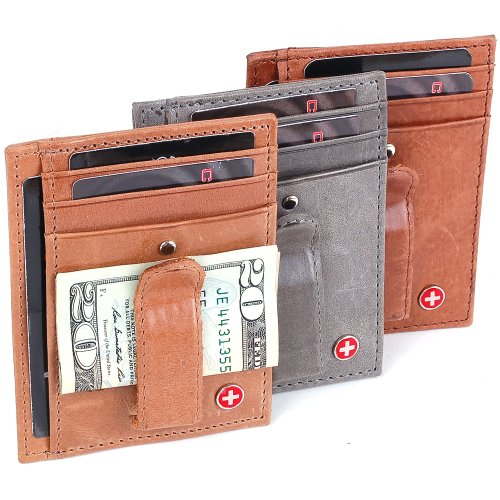 Alpine Swiss Rugged Pullup Leather Hand Crafted Men's Money Clip mini Wallet ID Credit Card Holder Front Pocket Wallet with Spring Clip