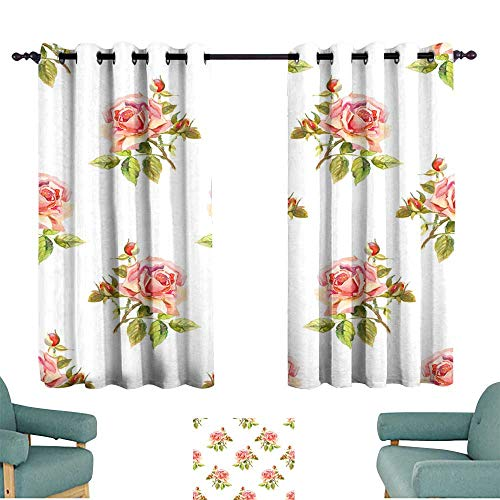 Warm Family Printed Curtain Watercolor Roses Seamless Wallpaper Floral Pattern 70%-80% Light Shading, 2 Panels,