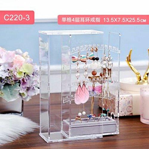 (Transparent Acrylic Display Stand Earring Earrings earings Dangler Eardrop Jewelry Display Stand dustproof Storage Box (Single Cell Layers 4 + Ring Earring)