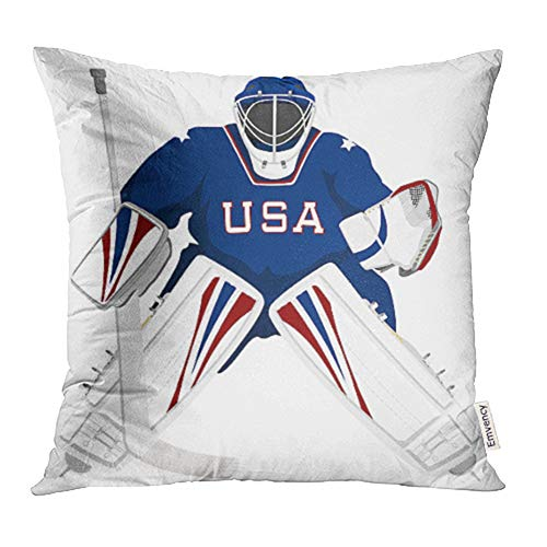(Emvency 18x18 Inch Throw Pillow Covers Decorative Case Ice Team USA Hockey Goalie Jersey Sport Stick Winter Helmet Cartoon Graphic Cover Square Pillowcase Cushion Cases Print On Two Sides)
