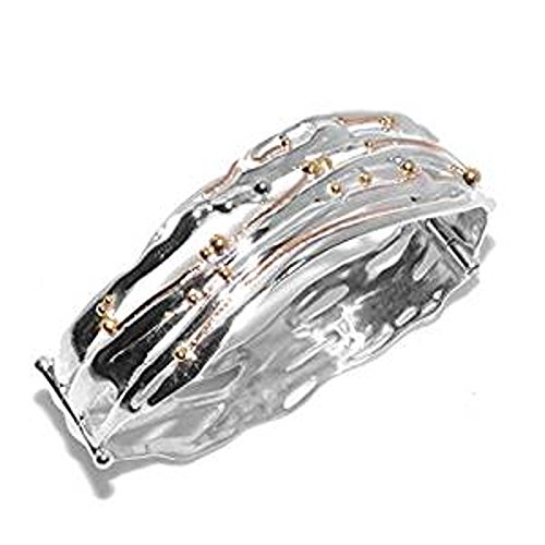 Banyan en argent sterling Bijoux: Bracelet à Charnière en laiton avec détails Bio (b128)