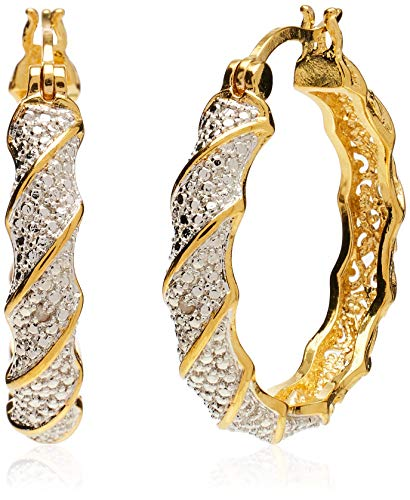 18k Yellow Gold Plated Bronze Diamond Accent Two Tone Twisted Hoop Earrings