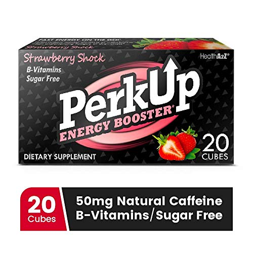 PerkUp Energy Booster (Strawberry Shock, 20) - A healthy alternative to energy drinks. Natural caffeine from green coffee bean with vitamins for energy. No sugar and no crash.