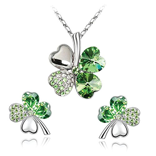 BodyJ4You Four Leaf Clovers Set Green Heart Crystal Pendant Necklace Stud (Heart Clover Necklace)