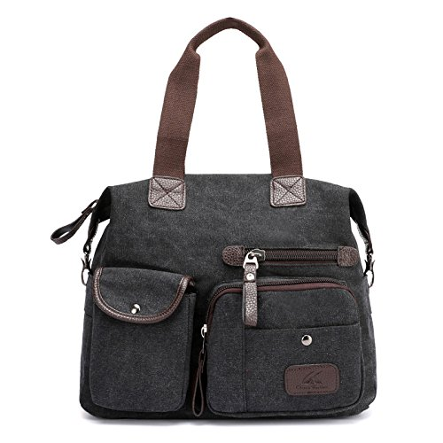 lkklily-shoulder Messenger Bag Bolsa de hombro lona Messenger all-match Retro Fashion gran capacidad, azul negro