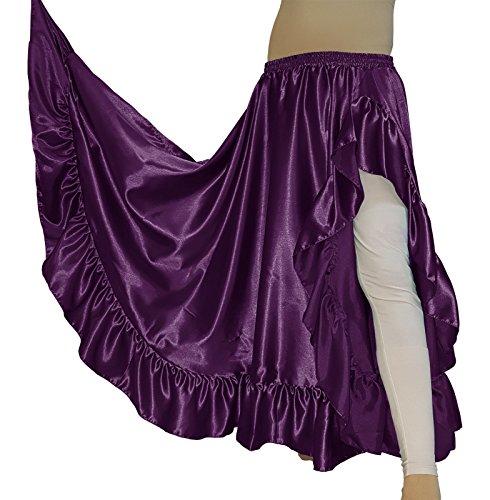 themilestocks Women's Belly Dance Satin 12 Yard Ruffle Flamenco 1 Slit Skirt Swing Tribal Costume Wear Gypsy Oriental Jupe Robe Frill Tiered Asym (One Size, Purple)