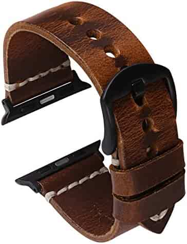 Oil Wax Leather Strap Watchband for Apple Watch Band 42mm Series 3 2 1, Nike+,Sport, Edition,Dark Brown
