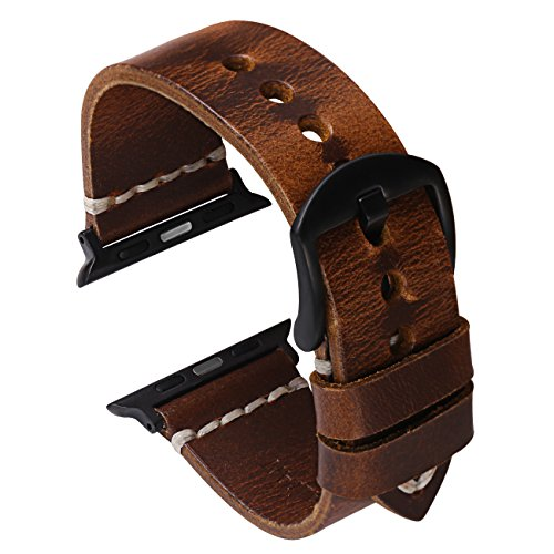 Oil Wax Leather Strap Watchband Compatible with Watch Band 42mm Series 3 2 1, Nike+,Sport, Edition,Dark Brown ()
