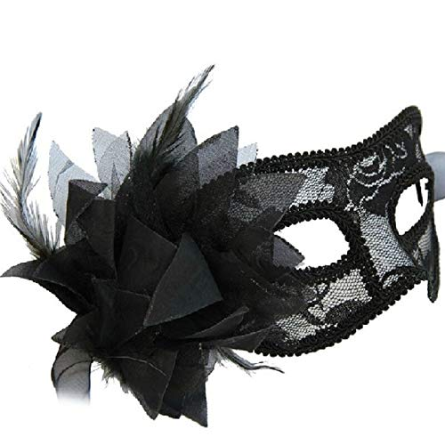 Ball Mask - 1 Pc Fashionable Venetian Feather Lace Flower Eye Mask Masquerade Ball Costume Party Fancy Dress - Costumes Kids Mask Women Couples Ball Masquerade -