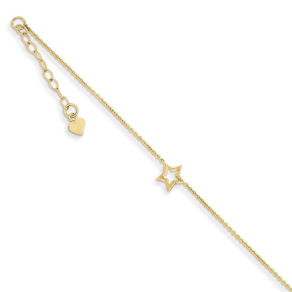 14K Adjustable Star Anklet w//1 extension; 9 inch