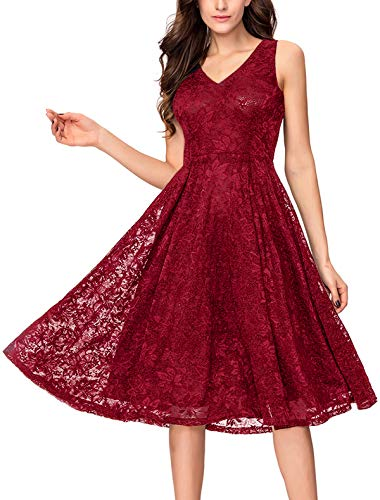 Noctflos Women's Plus Size Red Lace Midi Cocktail Evening Dress for Wedding Guest Mother of The Bride