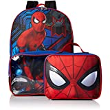 Marvel Boys' Spiderman Backpack with Lunch Window Pocket, Blue