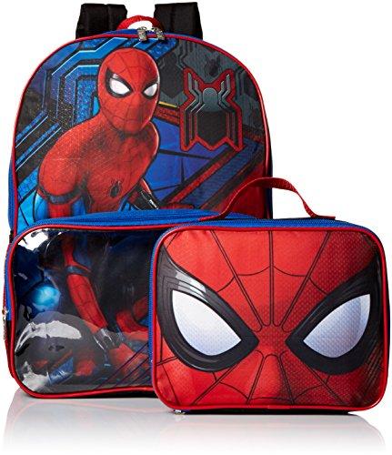 Marvel Boys' Spiderman Backpack with Lunch Window Pocket, Blue (One Back Pocket)