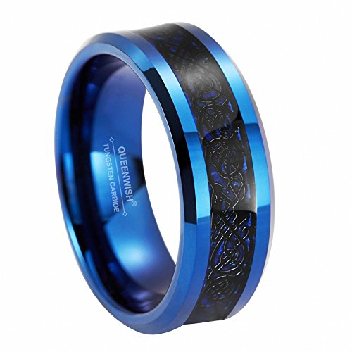 Queenwish 8mm Blue Tungsten Carbide Ring Black Celtic Dragon Blue Carbon Fibre Inlay Wedding Band Size 11 ()