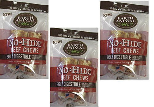 ((3 Packages) Earth Animal No-Hide Beef Chews 4