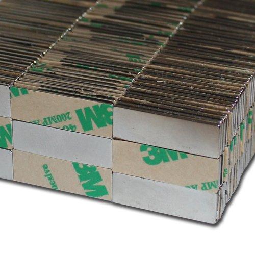 10 NEODYM Magnete selbstklebend NdFeB 30x10x1 mm - 2,2 kg