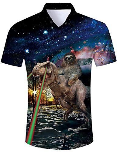Men's Hawaiian Shirt Galaxy Space Sloth Riding Lightning Dinosaur Forest Print Tropical Aloha Shirt Casual Button Down Short Sleeve Dress Shirt