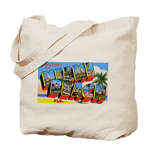 CafePress - Miami Beach Florida Greetings - Natural Canvas Tote Bag, Cloth Shopping - Beach Best Miami Shopping