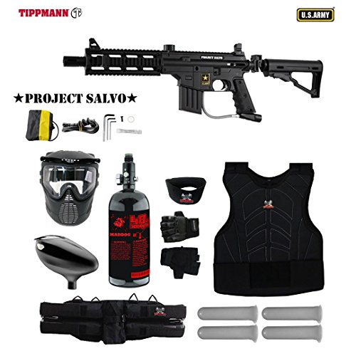 MAddog Tippmann U.S. Army Project Salvo Tactical Starter Protective HPA Paintball Gun Package - Black