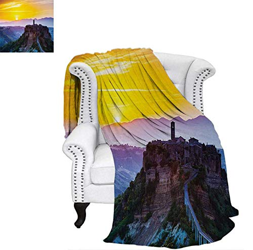 Digital Printing Blanket Old Historic Castle Town on Top of The Hills in Italian Renaissance at Sunset Print Summer Quilt Comforter 70