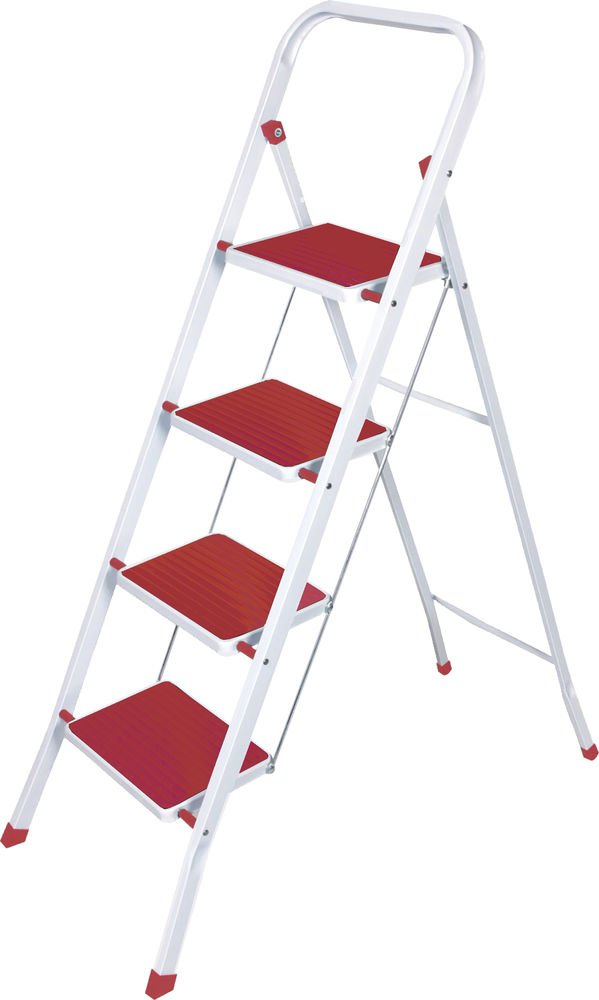 4 Steps Folding Lightweight Ladder, Stool for Home & Office Use Red & White by Above Edge