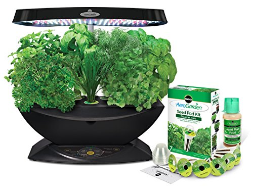 [Miracle-Gro AeroGarden 7 LED Indoor Garden with Gourmet Herb Seed Kit] (Gourmet Garden Herbs)