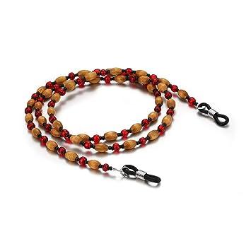 Bangxiu Cadena de Gafas de Cuentas de Madera Tradicional de Las Mujeres Sujetar Gafas Collar de cordón Cadena de Gafas de cordón: Amazon.es: Hogar