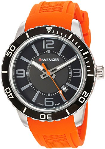 Wenger Men's Roadster Stainless Steel Swiss-Quartz Watch with Silicone Strap, Orange, 22 (Model: 01.0851.114)