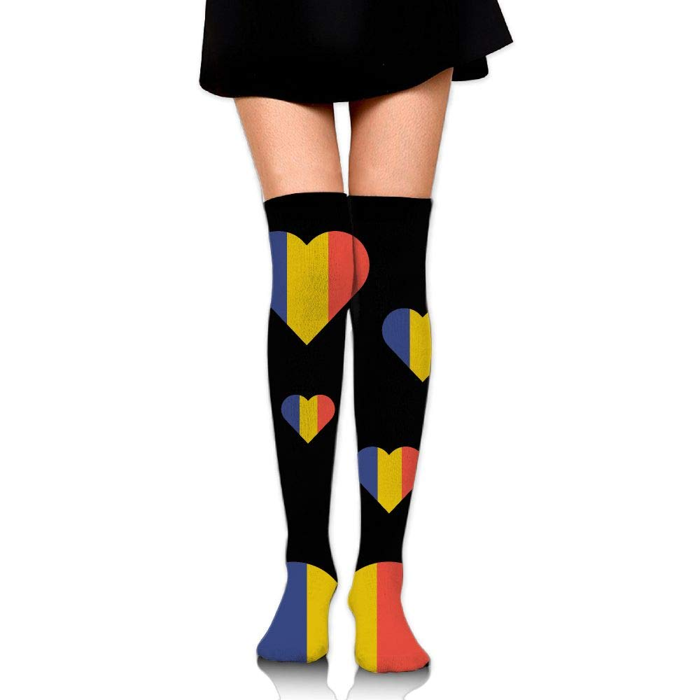 One Size Girls Womens Moldova Flag Heart Over Knee Thigh High Stockings Fashion Socks