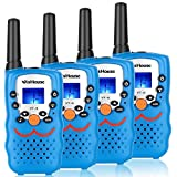 Walkie Talkie 4 Pack,Voice Activation Walkie Talkies for Boys, Best Toys Walky Talky 3 Miles Long range 22 Channels Handheld FRS GMRS Two Way Radios Hunting Hiking Camping (VT-8 Blue)