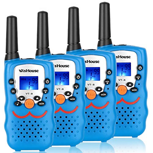 Walkie Talkie 4 Pack,Voice Activation Walkie Talkies for Boys, Best Toys Walky Talky 3 Miles Long range 22 Channels Handheld FRS GMRS Two Way Radios Hunting Hiking Camping (VT-8 Blue) by Wishouse (Image #7)