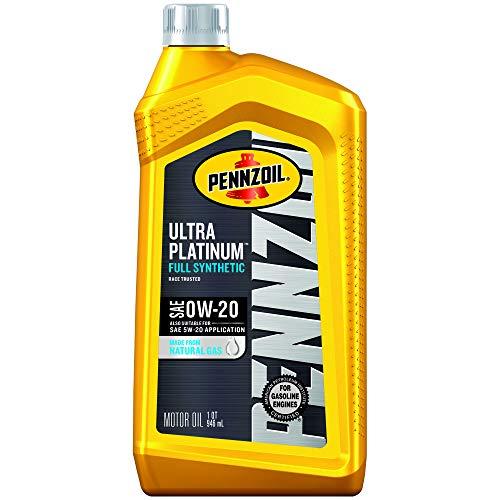 Pennzoil Ultra Platinum Full Synthetic Motor Oil 0W-20, 1 Quart - Pack of 6 -