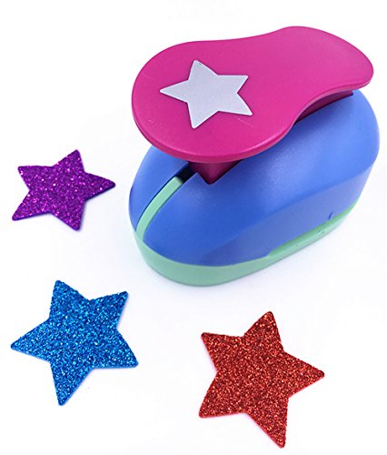 TECH-P Creative Life Shape Size 1.5- Inch(3.8cm) Multi-pattern Hand Press Album Cards Paper Craft Punch,card Scrapbooking Engraving Kid Cut DIY Handmade Hole Puncher,Paper Craft Punch. (Star) ()