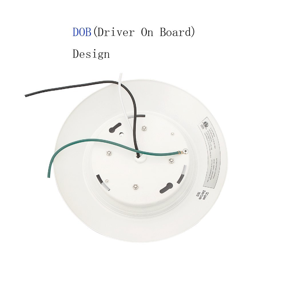 6 Inch Slim Surface & Recessed Mount Round LED Disk Light, 15W, 1000Lumens, CCT 3000K, CRI>80, Dimmable, DOB Design, cETL Listed and Energy Star, WISH LIGHTING, 6 Pack by Wish Lighting (Image #3)