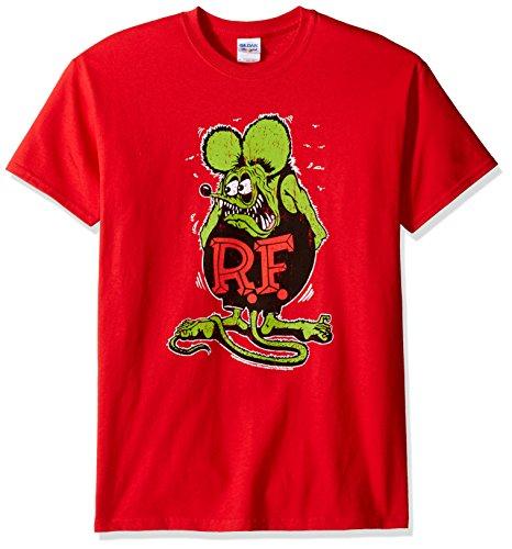 T-Line Men's Ratfink Distressed Graphic T-Shirt, Red, X-Large