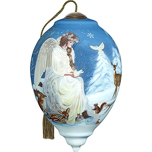 Angel Trio Ornaments - Ne'Qwa Precious Moments, Art 7171105 Hand Painted Blown Glass Standard Princess Shaped Winter's Woodland Angel Ornament, 5.5-inches