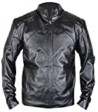 MSHC Batman Arkham Knight Black Leather Jacket with Bat Logo (Large)