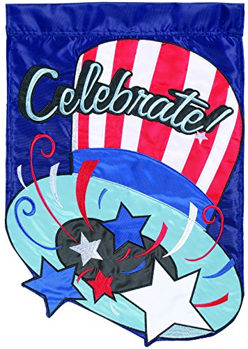 Carson Home Accents Flagtrends Double Applique Garden Flag, Celebrate Uncle Sam Hat