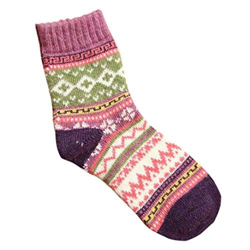 Winterkousen Voor Dames, Bijv. Mijn Nieuwste Dames Kasjmier Wol Dikke Warme Sokken Wintermode Gestreepte Sokken Paars