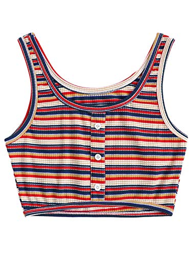 (SOLY HUX Women's Slim Fit Striped Ribbed Crop Tank Top Sleeveless Summer Vest Multicolor XL)
