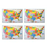 "Pack of 4 Superior Mapping Company United States Poster Size Wall Map 40"" x 28"" With Cities (4 Maps)"