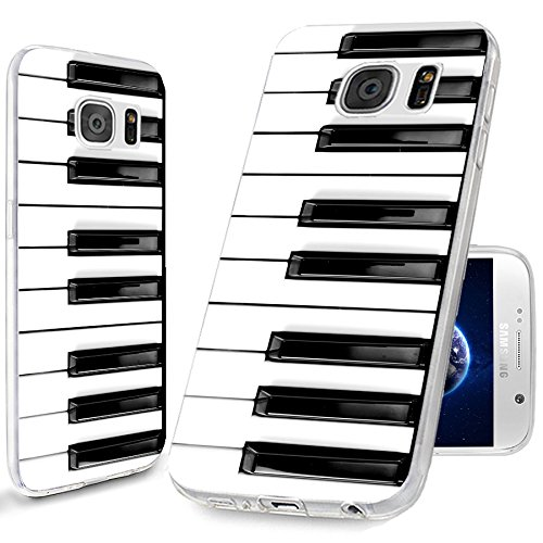 S7 Case,Galaxy S7 Case, ChiChiC [Cute Series] Full Protective Case Slim Flexible Soft TPU Gel Rubber Cases Cover Skin for Samsung Galaxy S7,Music Design Funny Black White Piano Key (Best Music Player For Galaxy S7)