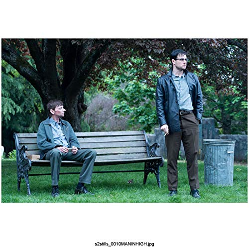 Rupert Evans 8 Inch x 10 Inch photograph Man in the High Castle (TV Series 2015 -) Standing Next to Bench Where DJ Qualls is Seated kn