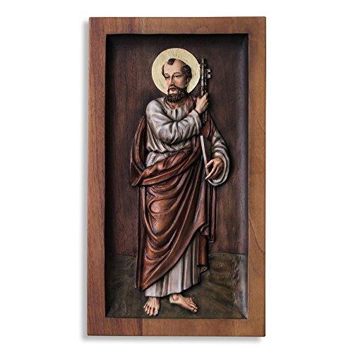 NOVICA 229832 Saint Peter' Cedar Relief Panel